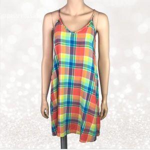 🌷3/$30 Neon Plaid Checked Dress by SO Medium